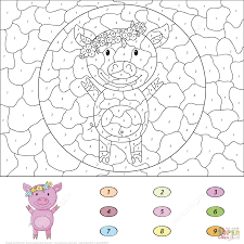 cartoon pig color by number free printable coloring pages