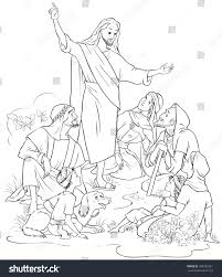 jesus preaches gospel christian cartoon coloring stock vector