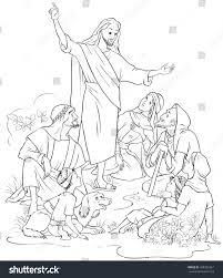 jesus preaches gospel christian cartoon coloring stock vector