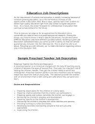 Sample Resume For Teacher Assistant Preschool Assistant Description Resume 28 Images 100