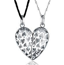 heart chain necklace silver images 14k gold plated sterling silver matching couple pendant heart jpg