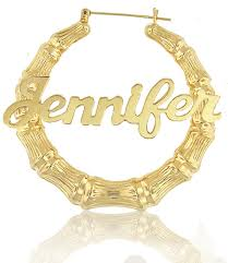 hoop earrings with name style large bamboo name earrings order any name