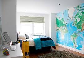 bedroom creations teen wall with earth map andwhite paint color