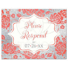 coral floral on white faux silver wedding rsvp postcard