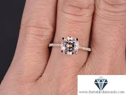 8mm cut morganite engagement ring solitaire diamond pave