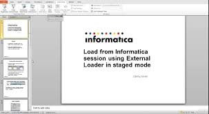 how to load from informatica session using external loader in
