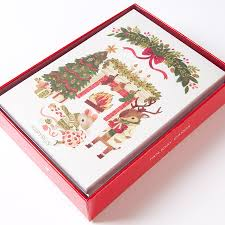 boxed christmas cards woodland animals opening gifts boxed cards set of 14