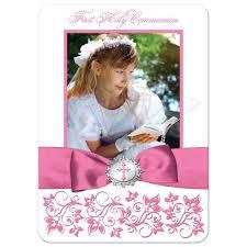 holy communion photo thank you card flat pink white