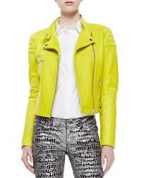 yellow motorcycle jacket mcq alexander mcqueen neon leather zip biker jacket lime green