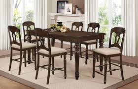dining room table with wine rack hamilton collection 7 pcs antique brown counter height table set