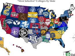 Nba Usa Map by The Most Selective College In Each State Map Business Insider