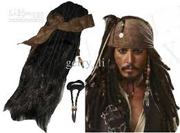 Halloween Costumes Accessories Cheap Retail Pirates Caribbean Jack Sparrow Costume Accessories Wigs