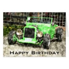 happy birthday classic car cards invitations greeting photo
