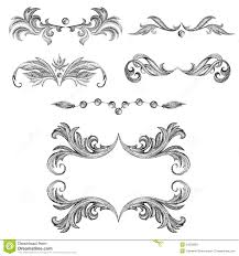 a set of decorative frames and design elements floral ornaments