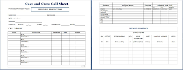 Sheet Template Word Cast And Crew Call Sheet Template Word Excel Templates