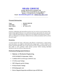 Resume Sample Of Mechanical Engineer Cv For Qc Inspector Mechanical