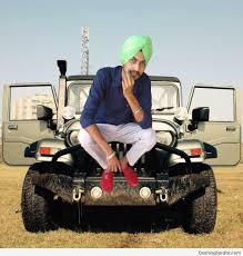 jeep punjabi manvinder singh posing with jeep dashing sardar u2013 good looking