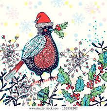 christmas vector seamless pattern fantasy birds stock vector