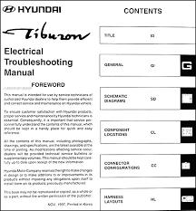2001 hyundai tiburon manual 1998 hyundai tiburon electrical troubleshooting manual original