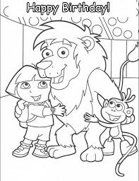 animations 2 coloring pages dora explorer happy birthday