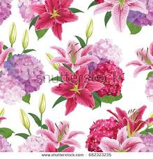 Lilies Flower Seamless Pattern Colorful Lilies Flower On Stock Vector 676415707
