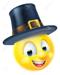 a happy thanksgiving emoji emoticon wearing a pilgrims hat royalty