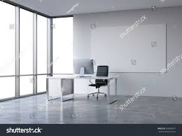 empty spacious office skyscraper french window stock illustration