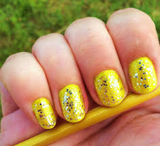 yellow nails with silver glitter nails glitter nail yellow silver