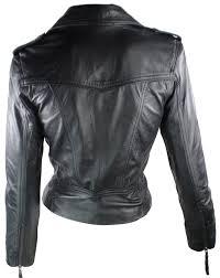 ladies short leather jacket fitted biker style black retro amazon
