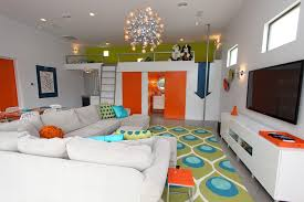 PolebuildinghousesGarageAndShedEclecticwithblueceramic - Garage family room
