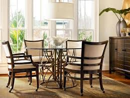 Fascinating Dining Table And Chairs With Casters  With - Dining room chairs with rollers