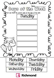thanksgiving activities for 1st grade activities cut and paste the correct order of the days of the