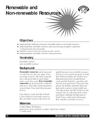 renewable resources renewable non renewable resources worksheet
