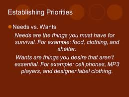 chapter 5 learning to manage establishing priorities needs vs