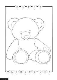 happy mothers day with a teddy bear and hearts coloring page