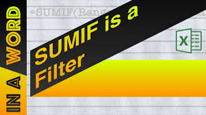 Countif Sumif Minif Sumif Is A Filter