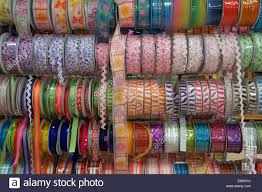 colorful ribbon spools of colorful ribbon in a fabric store merida yucatan