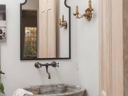 bathroom stone sink mediterranean powder room wall mount sink