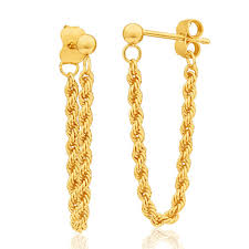 gold earrings fancy rope drop earrings 9ct yellow gold g10254031 grahams