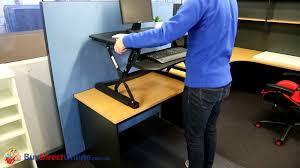 arise deskalator sit stand desk riser youtube
