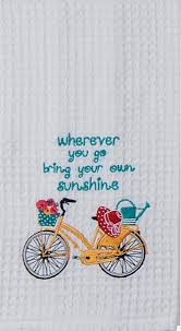Kitchen Towel Embroidery Designs Vintage Yellow Bike Sunshine Quote Embroidered 100 Cotton Waffle