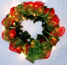 deco mesh halloween garland christmas garlands with lights and bow u2013 happy holidays
