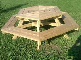 outdoor wooden octagon picnic table with swing up benches built in