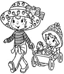 strawberry shortcake coloring pages playing baby doll coloring pages