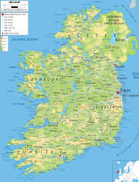 Europe Physical Features Map by Physical Map Of Ireland Ezilon Maps