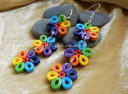 paper ear rings rainbow paper earrings by ombryb on deviantart