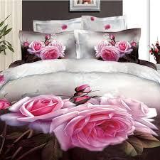 Pink Rose Duvet Cover Set 3d Bright Pink Rose Bedding 100 Cotton Duvet Life