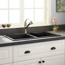 black kitchen sink faucets double bowl drop in granite sink black adjustable solid grey black