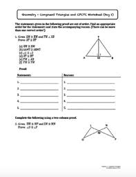 congruent triangles and cpctc lesson with homework by ashley spencer