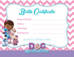 doc mcstuffins party birth certificate toys digital